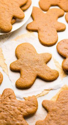 The Ultimate Healthy Gingerbread Cookies | Amy's Healthy Baking Gingerbread Man Cookie Recipe, Healthy Gingerbread Cookies, Healthy Christmas Cookies, Gluten Free Gingerbread, Healthy Cookies, Gingerbread Men, Rice Krispies, Skinny Cookies, Toffee Cookies
