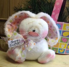 Primitive HC Raggedy Easter Bunny Rabbit Doll Shelf Sitter 6in. Cute!! White #IsntThatCute #Easter