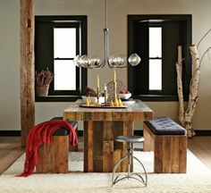 DIY crafts homemade dining table bench wooden pallets furniture ideas