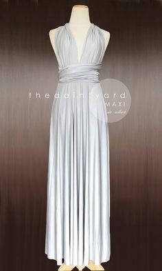 MAXI Silver Bridesmaid Dress Convertible Dress by thedaintyard