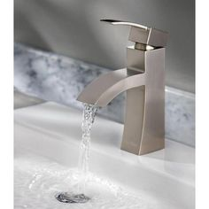 The brushed nickel finish and waterfall spout give this Bernini Collection bathroom faucet a modern look. It's WaterSense certified, too, promising 30% less water consumption without compromising your water experience