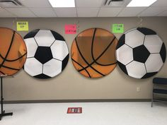 Love how these turned out for VBS - Game On! Just round tablecloths over some pex pipe. Sports Bulletin Boards, Sports Theme Classroom, Basketball Party, Sports Party, Sports Day Decoration, Sports Decor, Soccer Locker, School Wide Themes, Vbs Themes
