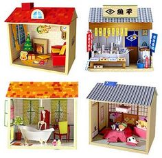 Japanese village - 24 cutouts. All you need are scissors & a glue stick. Direct link to pdf printout here (in Japanese but you can figure it out after printing) http://paperm.jp/craft/dollhouse/index.html