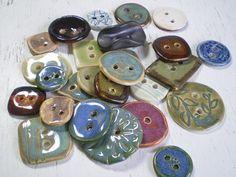 23 Mixed Ceramic Buttons Clay Buttons Handmade by maleaspottery, lovely selection