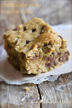 Chocolate Chip Cookie Cake by Namely Marly.   -Need to pick up apple cider vinegar, brown rice flour, sorghum flour, corn starch, ground flax seed and sea salt.