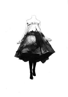Fashion illustration of an Alexander McQueen dress; black and white fashion drawing // Nabil Nezzar