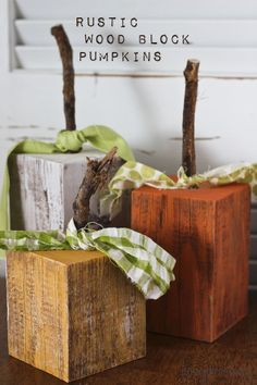 Rustic Wood Pumpkins – Honeybear Lane Rustic wood block pumpkins with Chalky Finish. The Home Depot Michaels Stores Hobby Lobby A. Fall Wood Crafts, Wood Block Crafts, Wood Blocks, Diy Crafts, Wood Projects, Wooden Crafts, Country Wood Crafts, Glass Blocks, Thanksgiving Wood Crafts