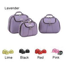 @Overstock.com - Luca Vergani Molded 3-piece Cosmetic Case Set - Organize your make-up in this fashionable three-piece cosmetic case and carry it with you wherever you go. There is a front zippered pocket for plane or train tickets, and each of the three cases has a comfort grip handle. They are fully lined.    http://www.overstock.com/Luggage-Bags/Luca-Vergani-Molded-3-piece-Cosmetic-Case-Set/1913909/product.html?CID=214117 $54.99