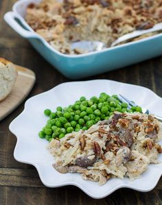 Creamy Chicken, Rice, and Mushroom Casserole _ This is a recipe from From a Southern Oven: The Savories, The Sweets that I've adapted some. A creamy casserole full of chicken, mushrooms, & rice and topped with pecans.