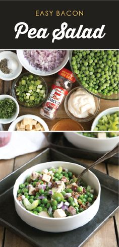Easy Pea Salad with Bacon + Video Hormel Bacon, Pea Salad With Bacon, Smoked Gouda, Cooking Recipes, Healthy Recipes, Brunch, Vegetable Sides, Holiday Dinner, Fruits And Veggies