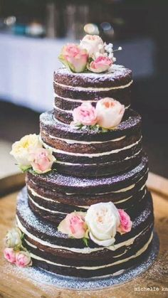 """11 Naked Wedding Cakes That Are Downright Gorgeous Unfrosted, or """"naked"""" cakes have been one of the biggest wedding trends of the past year. Truly versatile, these cakes have taken the wedding industry by storm. Goodbye fondant and hello barely-there Brownie Wedding Cakes, Wedding Cake Fillings, Cake Wedding, Naked Wedding Cake With Fruit, Wedding Bride, Wedding Ceremony, Wedding Flowers, Wedding Wishes, Purple Wedding"""