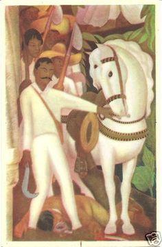 Fischgrund Vintage Postcard Diego Rivera Zapata Revolucionario Mexican Folk Art
