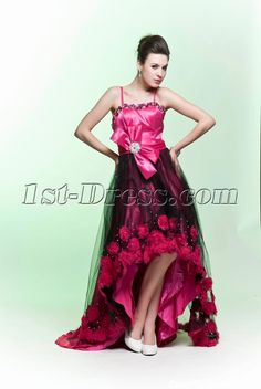 1st-dress.com Offers High Quality Popular High-low Hot Pink and Black Evening Dress 2012,Priced At Only US$165.00 (Free Shipping)