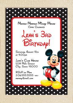 Micky Mouse invitations  set of 15 by polkaprints on Etsy, $18.75