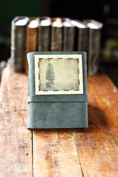 Grey Leather Journal with Tall Ship Photo by wayfaringart on Etsy