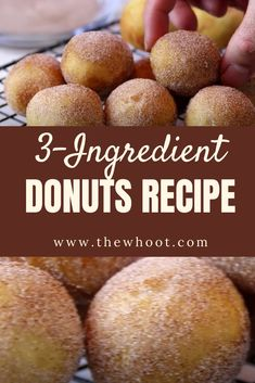 These 3 ingredient donuts are a sweet treat that can't be beat. You will love this easy and delicious recipe and it's the best ever. 3 Ingredient Desserts, 3 Ingredient Cookies, Two Ingredient Cakes, Delicious Donuts, Delicious Desserts, Healthy Donuts, Healthy Desserts, Pampered Chef, Easy Baking Recipes