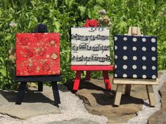 Music notes, hearts and polka dots mini canvas trio! cutelittlecanvases, $20.00 #gift #homedecor #cute