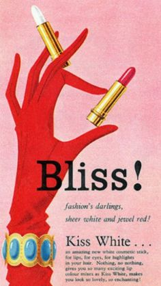 1959 Goya Lipstick ad by totallymystified, vintage lipstick advert// Maybe a little sleeve inspo...