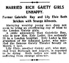 Married Rich Gaiety Girls Unhappy  - New York NY Dramatic  Mirror - 11th December 1912