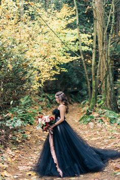 Woodland Nymph in a Black Wedding Dress