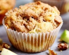 Apple Cream Cheese Crumb Muffins are the perfect buttery and moist apple walnut muffins with a hidden cream cheese center. Topped with a cinnamon sugar crumb topping Muffin Recipes, Apple Recipes, Cupcake Recipes, Baking Recipes, Breakfast Recipes, Dessert Recipes, Gourmet Cupcakes, Breakfast Options, Breakfast Muffins