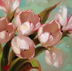 """Daily Paintworks - """"White on Mint"""" - Original Fine Art for Sale - © Krista Eaton"""