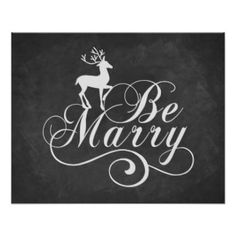 Vintage chalkboard Christmas quote art Be Merry Poster