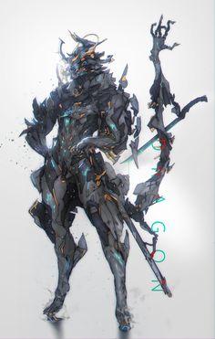 Dragon  samurai, yin zhen chu on ArtStation at https://www.artstation.com/artwork/lNJWa