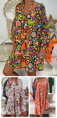hippie style 214624738479264915 - NewChic—Your Private Wardrobe, Up to OFF Bohemian Print & V-neck Dress, Cool Price but Top Quality! Boho Fashion, Fashion Dresses, Womens Fashion, Fashion Design, Ropa On Line, Estilo Hippie, Bohemian Print, Sequin Party Dress, Hippie Dresses