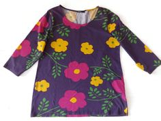 Vintage MARIMEKKO floral top Shirt with colorful flowers Purple Pink Yellow 3/4 sleeves Vintage fashion 90s Women,s cotton top XL by Vintageby2sisters on Etsy