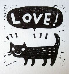 cute cat linocut