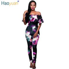 d58dc06c67 2017 Enteritos Mujer Slash Neck Print Overalls For Women Elegant Long Black pink  Off Shoulder Jumpsuit Macacao Feminino Longo. fashion For Plus Size Ladies