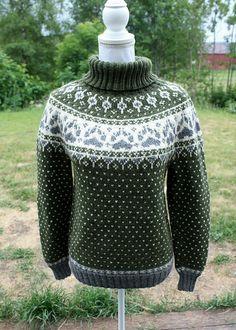 Ravelry: Fjordfolk(rundfelling) pattern by Linka Karoline Neumann Hand Knitted Sweaters, Sweater Knitting Patterns, Knitting Designs, Knit Patterns, Knitting Sweaters, Fair Isle Knitting, Hand Knitting, Knitting Basics, Fjord