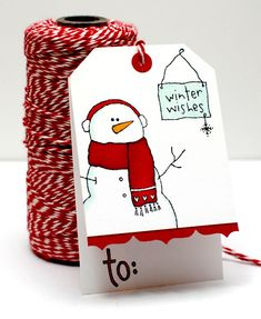 "Easy fold-over Layered Tag - Top folded snowman tag--cute--would ""love"" to make handmade tags this year! Christmas Paper Crafts, Noel Christmas, Christmas Gift Tags, Xmas Cards, Holiday Cards, Gift Cards, Christmas Tags Handmade, Christmas Cards Drawing, Handmade Gift Tags"
