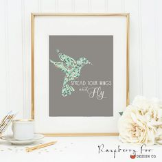 Digital Print  Spread Your Wings And Fly by RaspberryFoxDesignCo