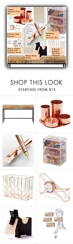 """desk goals: going rose gold."" by clarathewicked ❤ liked on Polyvore featuring interior, interiors, interior design, home, home decor, interior decorating, Home Decorators Collection, Ted Baker, U Brands and Mark & Graham"