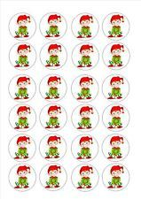 24 icing fairy cake toppers decorations edible - Xmas elf elves game