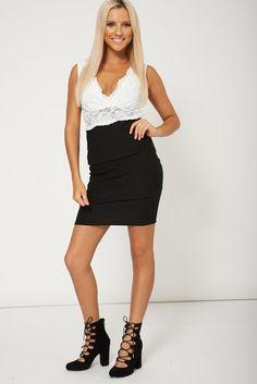 Fashionable Short Style Lace Fabric Sleeveless Dress *