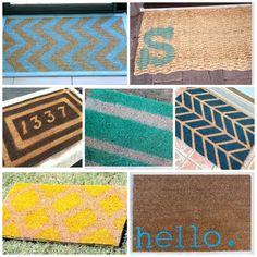 lot of diy doormat inspiration. paint and personalize your old mat into a fun new welcome for your home. Popular with the Poplins