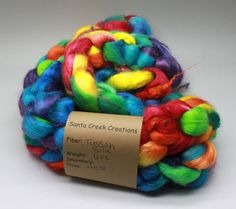 Hand dyed hand painted spinning fiber by santacreekcreations, $45.00