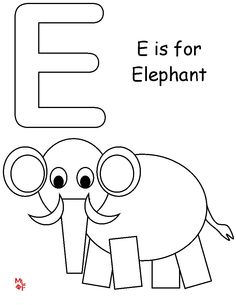 E is for elephant worksheets school and activities letter ee is for elephantcolouring page spiritdancerdesigns Image collections