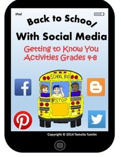 "Super Cute!  Motivate your upper elementary and middle school students with this fun Back-to-School ""Getting to Know You"" activity!  This Back-to-School packet is designed to motivate older students by using a theme they are familiar with and love! Social Media! The packet includes 9 ""get to know you survey sheets"" which are designed around popular social media platforms and it also has an iPad cover page to use when putting the survey sheets together in a booklet form. $"