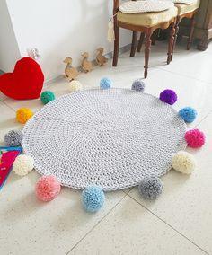 Promotion! Sweet Pom pom round rainbow rug, mat bohemian crochet vintage pink bebe carpet teppich hippie houseware tapis enfant kids rugs by madeofWeaves on Etsy