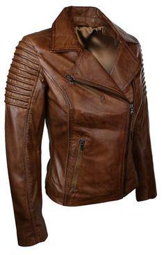 Ladies Women Genuine Real Leather Slim Fit Brown Biker Jacket | eBay