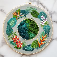 Tropical plumeria hand embroidery PDF pattern, DIY tropical plants and flowers wreath, Jasmine flowers Needlepoint Design, Modern crewel pdf Tropical plumeria hand embroidery PDF pattern DIY tropical image 4 Hand Embroidery Patterns Flowers, Embroidery Stitches Tutorial, Hand Work Embroidery, Modern Embroidery, Hand Embroidery Designs, Diy Embroidery, Cross Stitch Embroidery, Needlepoint Patterns, Needlepoint Canvases
