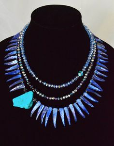 Turquoise Nugget Slice, Sapphire Blue Spiked Shell and Crystal Multi-strand Bib Statement Necklace by Adrienne Adelle