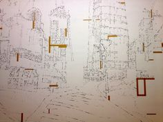 Miha Strukelj, giant wall drawing, urban landscape for 'Invisible Cities' Mass Moca