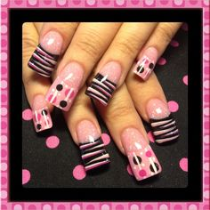 Pink stripes and dots - Nail Art Gallery