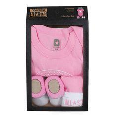 Converse Baby 3-er Geschenk-Set Body Mütze Söckchen pink