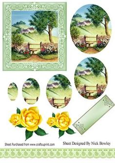In the meadow with cottages and flowers oval pyramids on Craftsuprint - Add To Basket!